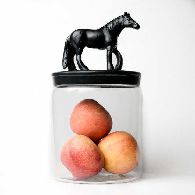 Glas Jar with Horse black