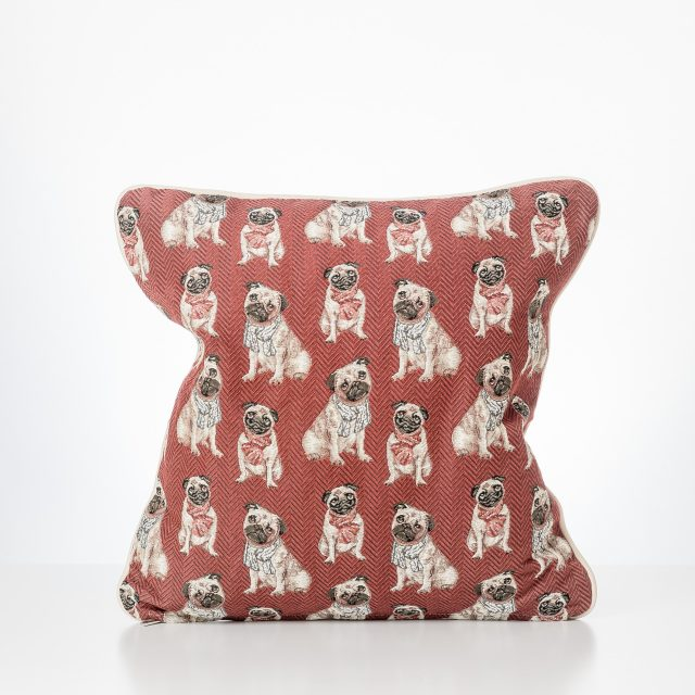 Pug Cushion Red