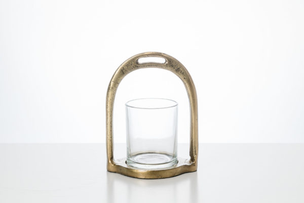Candle Holder Stirrup with glass Large