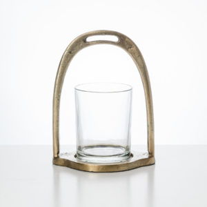 Candel Holder Stirrup with glass Small