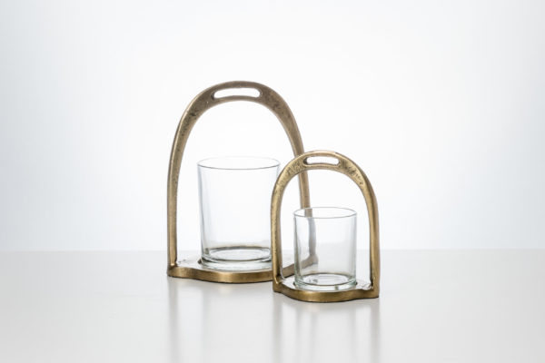 Candle Holder Stirrup with glass Large Candel Holder Stirrup with glass Small