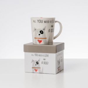 Coffe Mug All you need is love and a dog Made in 100% porcelain Comes in a gift box