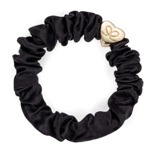 Gold Heart Silk Scrunchie Black