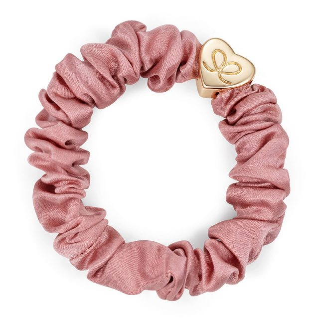 Gold Heart Silk Scrunchie Champagne Pink