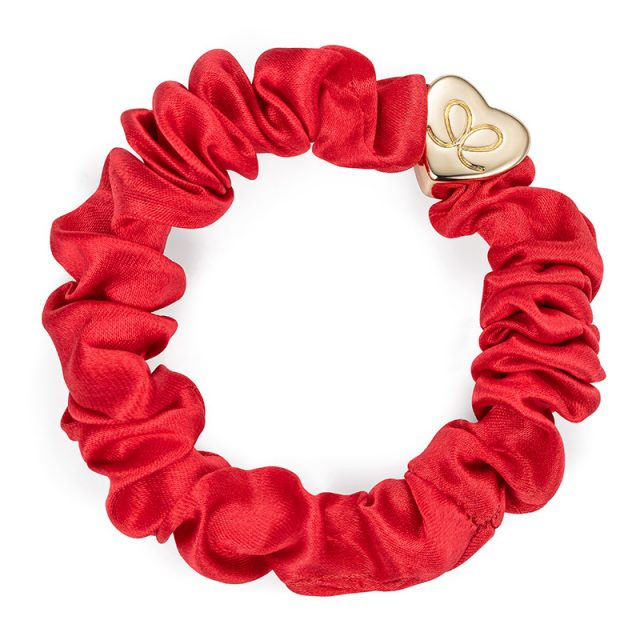 Gold Heart Silk Scrunchie Cherry Red