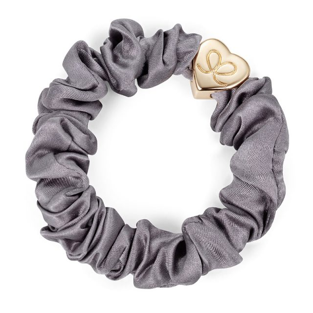 Gold Heart Silk Scrunchie Grey