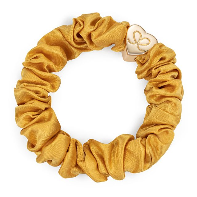 Gold Heart Silk Scrunchie Mustard