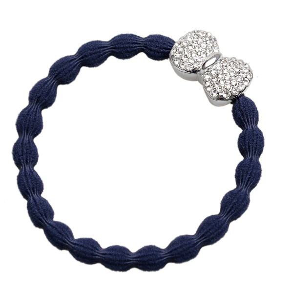 Navy Blue Diamante Silver Bow