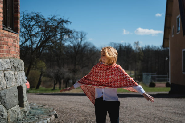 Rönner Design Arabella Poncho - Röd-orange